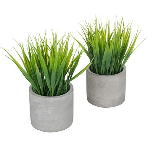 (MyGift Tabletop Artificial Grass Plants in Modern Cement Pots, Set of 2 )