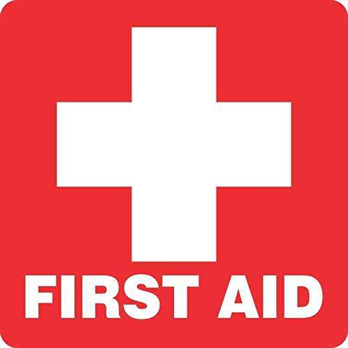 5inx5in Red First Aid Sticker Vinyl Medical Emergency Sign Decal Stickers by StickerTalk