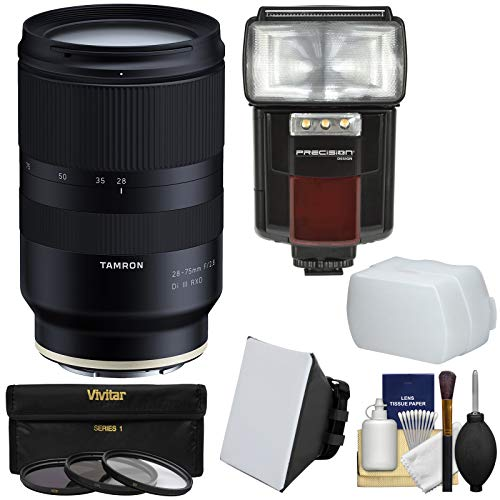 Tamron 28-75mm f/2.8 Di III RXD Zoom Lens with 3 UV/CPL/ND8 Filters + Flash + Diffusers Kit for Sony Alpha FE E-Mount Cameras
