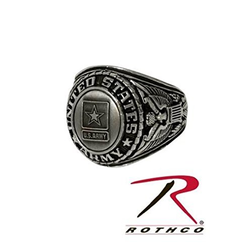 Rothco US Army Military 18K Gold Electroplated Silver Antique Finish Insignia Ring with Rhodium Finish Licensed (Size 10 Ring) (Usmc Officer Insignia)