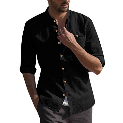 Males's Free Shirts Cotton Linen Strong Button Pocket Classic Seven-Quarter Sleeve Tee Tops Shirt (3XL, Black)