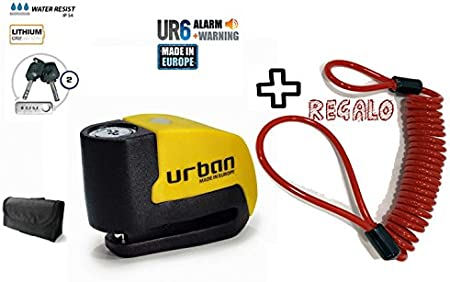 URBAN - Candado de disco UR6 con Alarma 6mm 120dba + REGALO Cable Reminder antiolvido