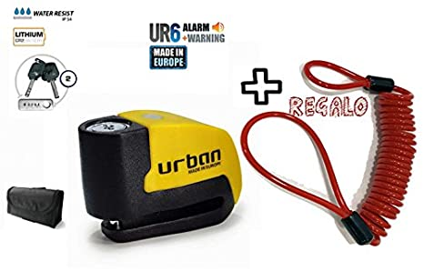 URBAN - Candado de disco UR6 con Alarma 6mm 120dba + REGALO ...