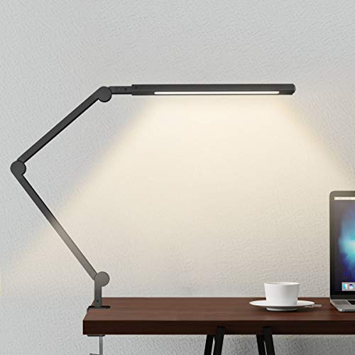 Swing Arm Lamp, LED Desk Lamp with Clamp, 9W Eye-Care Dimmable Light, Timer, Memory, 6 Color Modes, JolyJoy Modern Architect Table Lamp for Task Study Reading Working/Home Dorm Office (Black) ()
