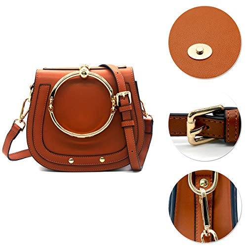 Circular Girls Ring Women Yoome Handbags Punk Bags Purse Brown Small Crossbody Handle For Round wtEdt7nTqx