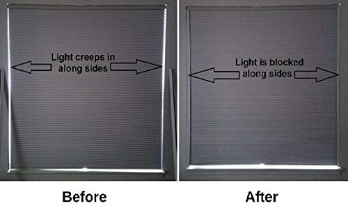 Finally a simple yet effective room darkening solution to block that annoying light along the sides of your blackout shades SLEEPY TIME TRACKS (72 inch long white) ()