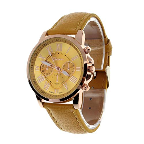 Snowfoller ❤️ Women's Stainless Steel Dress Watch Geneva Roman Numerals Analog Quartz Watch Faux Leather Band Strap (Yellow)