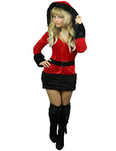 Mrs Claus Costume Images (Yummy Bee Womens Santa Costume Black White Size 2 - 4)