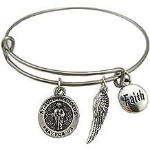 Saint Jude Thaddeus Pray for Us Charm Bracelet Stainless Steel Adjustable Wire Bangle Jesus Medal Jewelry