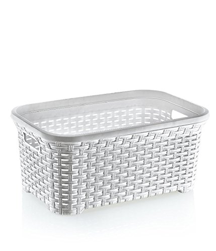 Rattan (Wicker Style) 1.4 Bushel Laundry Basket (White) (Laundry Basket Rattan)
