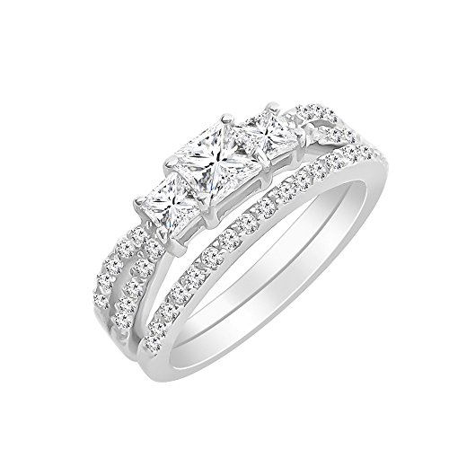 Sterling Silver Princess Cut Cubic Zirconia Past Present Future Engagement Ring Wedding Band Set (7)