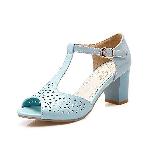 VogueZone009 Mujeres Hebilla Puntera Abierta Tacón ancho Sólido Sandalias de vestir Azul