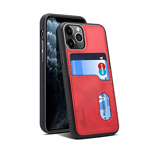 Slim Case for iPhone 11 Pro Apple 5.8 2019,Card Holder Red Protective Soft Thin Nice Fit Lightweight Leather Cover Boy Girl Shell (Iphone 4s Jeweled Wallet Case)
