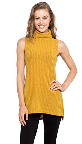 Velucci Womens Turtleneck Tunic Tank Top - Sleeveless Ribbed Sweater, (Mustard XL)