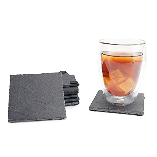 Sweese 3403 Slate Coasters with 4 Velvet Backing for Drinks - 4 Inch - Set of 8, Square