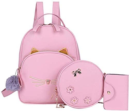 Alice Girls 3-PCS Fashion Cute Mini Leather Backpack sling & pouch set for Women
