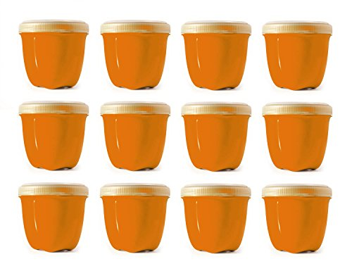 Preserve Food Storage Container, 8 Ounce/Mini, Made from Recycled Plastic, Set of 12, Orange