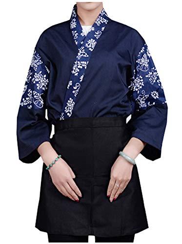 LifeHe Mens Women Sushi Chef Jacket Japanese Kitchen Uniform Sushi Workwear Printed Kimono Cardigan (Navy, M)