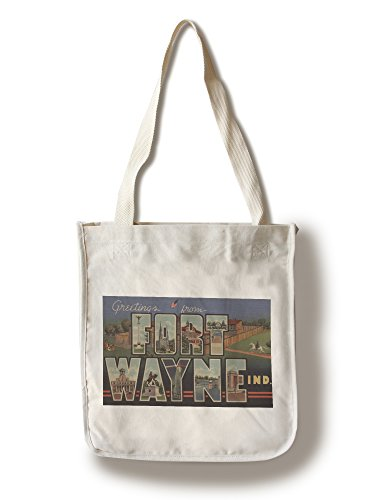 Greetings from Ft. Wayne, Indiana (Fort Scene) (100% Cotton Tote Bag - Reusable, Gussets, Made in (Fort Wayne Indiana Shopping)