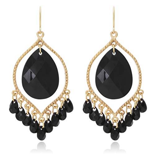 Bohemian Multi Beads Tassel Chandelier Dangle Drop Earrings for Women (Red Bead Chandelier Earrings)