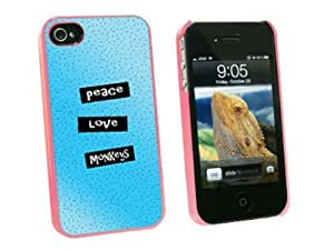 Graphics and More Peace Love Monkeys - Snap On Hard Protective Case for Apple iPhone 6 4.7 - Pink - Carrying Case - Non-Retail Packaging - Pink