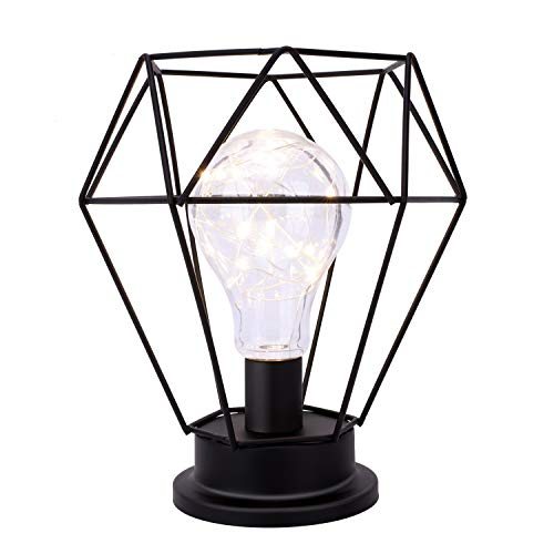 Lewondr Table Lamp Metal Shade Edison Bulb Desk Light Diamond Metal Cage Style Battery Powered Ambient Lights for Bedroom Wedding Christmas Home Decoration - Warm White and Black