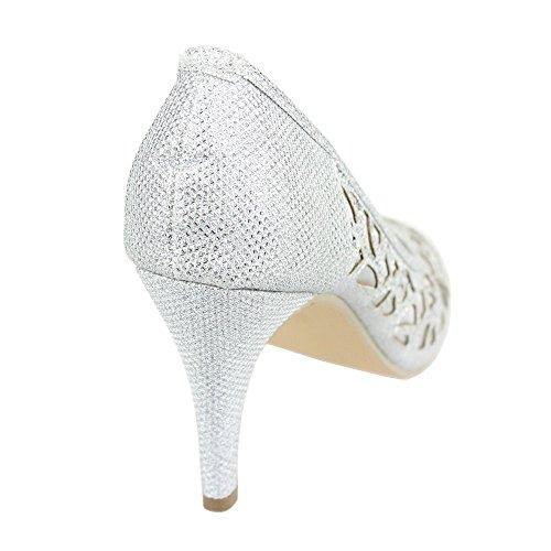 Mujer Señoras Noche Boda Fiesta Paseo Diamante Tacón alto Peeptoe Sandalias Zapatos tamaño Plata
