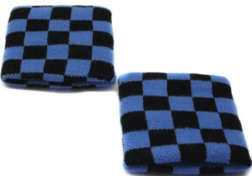 Blue Checkered Wristband Sweatband PAIR