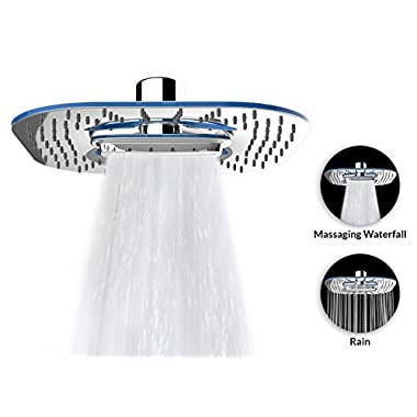 A-Flow™ 2 Function - Waterfall and Water Spray - Luxury Large 8  Shower Head / ABS Material with Chrome Finish / Enjoy an Invigorating & Luxurious Spa-like Experience - LIFETIME WARRANTY