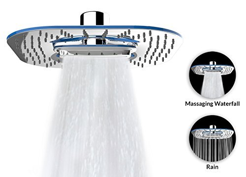 "A-Flow™ 2 Function – Waterfall and Water Spray - Luxury Large 8"" Shower Head / ABS Material with Chrome Finish / Enjoy an Invigorating & Luxurious Spa-like Experience – LIFETIME WARRANTY"