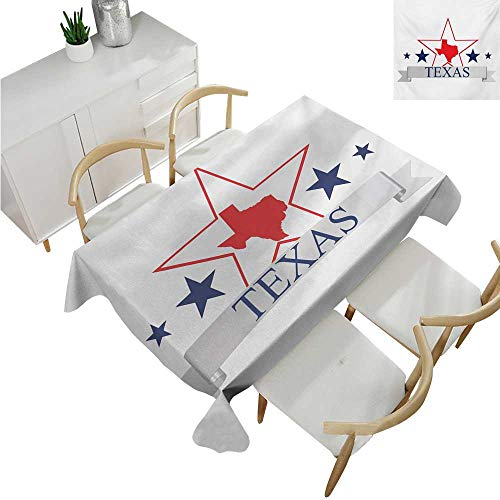 (Texas Star,Oblong Tablecloth,San Antonio Dallas Houston Austin Map with Stars Pattern USA,Table Cloth Home Decoration 50