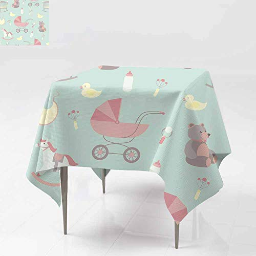 AFGG Custom Tablecloth,Seamless Baby Background Rocking Horse Teddy Bear stro,Table Cover for Dining 60x60 Inch ller d uck bib (Oilcloth Bib Baby)