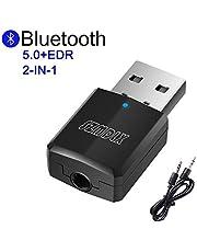 SZMDLX Transmetteur Bluetooth 5.0 Émetteur et Récepteur Adaptateur Bluetooth 2 en 1 Adaptateur Audio sans Fil Sortie Stéréo de 3,5 mm USB d'ordinateur Sans fil Adaptateur Audio pour Casque d'écoute