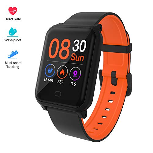 Fitpolo H706 Color Screen Fitness Watch, IP67 Waterproof Smart Activity Tracker with Heart Rate Monitor,Pedometer,Calorie Counter,Sleep Monitor, SMS/SNS Alert(Black&Orange)