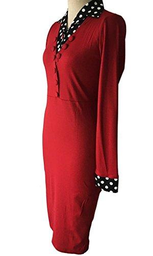 Larga De Minetom Cóctel Los Bodycon Mujeres Con Cinturón V Vestido Fiesta Empalme Rojo Manga Vestido cuello Lunares Vestido SCnz6SWH