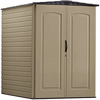 This Item Rubbermaid Plastic Large Outdoor Storage Shed,159 Cu. Ft.,  Sandalwood With Onyx Roof (FG5L3000SDONX)