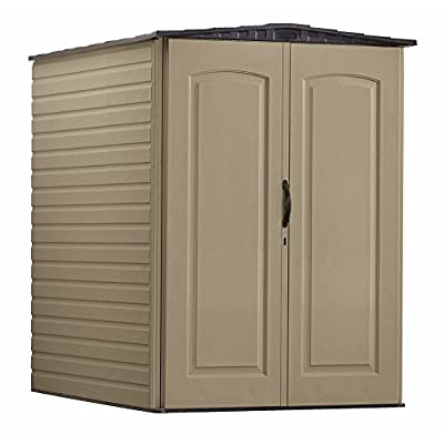 Rubbermaid Plastic Large Outdoor Storage Shed,159 cu. ft, Sandalwood with Onyx Roof (FG5L3000SDONX)