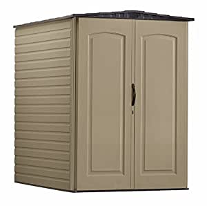 Rubbermaid Plastic Large Outdoor Storage Shed,159 cu. ft., Sandalwood with Onyx Roof (FG5L3000SDONX)