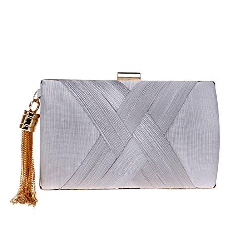 Clutch Party Women Bag Purse Tassel Small Evening Silver Handbags Wedding Shoulder Female 5qS0qO