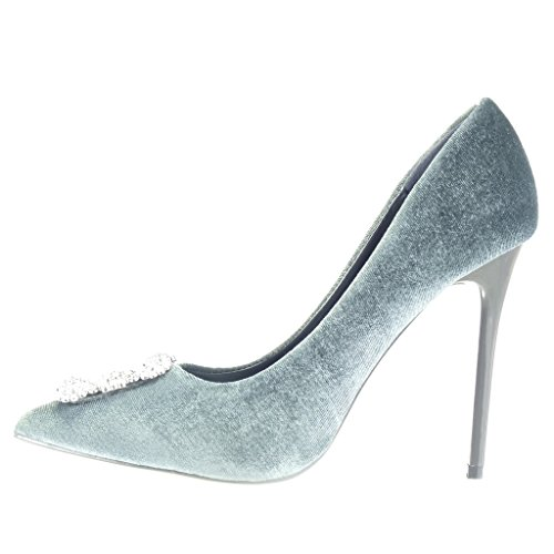 Angkorly - damen Schuhe Pumpe - Stiletto - Sexy - Strass - Schmuck Stiletto high heel 11 CM - Grau