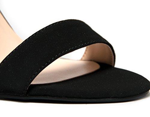 Läckra Womens Öppen Tå Hög Klack Ankelbandet Klänning Sandal Krängt-sandaler Svart Nubuck