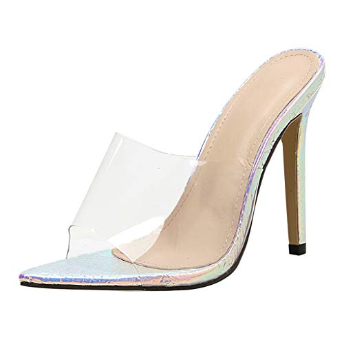 Midress Fashion Women Peep Toe Thin Heels PVC Upper Pointed Scale Like Sole Sexy Shoes High Heels Sandals Side Stiletto Slip On