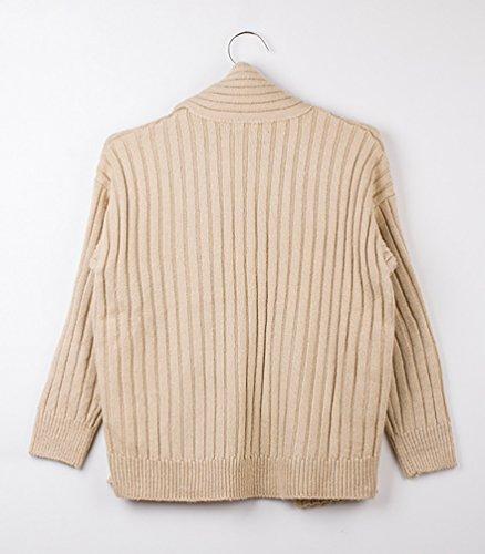 Baymate Mujer Otoño Invierno Jerséy Suéter Cuello de Chal Tapas Moda Pullover Albaricoque