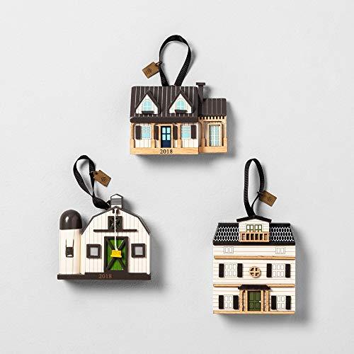 Hearth and Hand Magnolia Christmas Ornament Farmhouse Rustic 3 Pc 2018 House Barn Doll