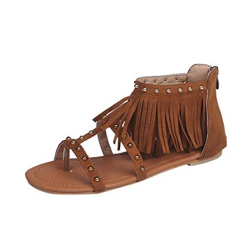 27f3803bfd0 Été Sexyville Chaussures Strass Plate Bohême Plates Gland Mode Femmes  Printemps Talon Marron À Décontractée Tongs Shoes Sandales Plage ...