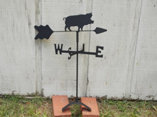 (Pig Roof Mounted Weathervane Black Wrought Iron)
