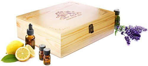 The Luxe Engraved Essential Oil Box (68-Bottles Capacity) – Natural Pine Wooden Travel Case for 5ml-15ml Aromatherapy Bottles, Rollers and Droppers – Smooth Finished Surface