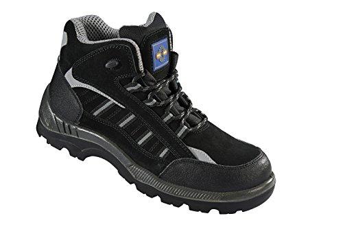 Pro Man PM4020 S3 Sicherheitsschuhe, mit Zehenschutzkappe aus nicht-metallischem Material, für erhöhte Arbeitssicherheit, antistatisch, rutschhemmend, Schwarz