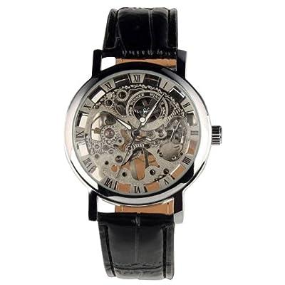 Seasonwind Mens Automatic Mechanical Leather Skeleton Luxury Fashion Wrist Watch Sliver