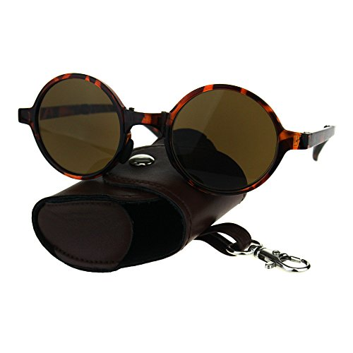 Collapsible Round Circle Lens Powered Reading Sunglasses Tortoise Brown ()